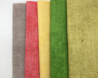 fat quarter fabric bundle of 5 solid colors