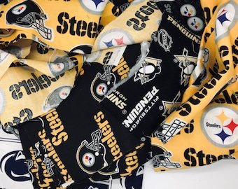 Pittsburgh sports fabric assorted styles Steelers Pirates Penguins Penn State Pitt cotton fabric face mask fabric