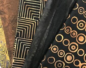 fabric bundle of 5 batik fat quarters brown assortment