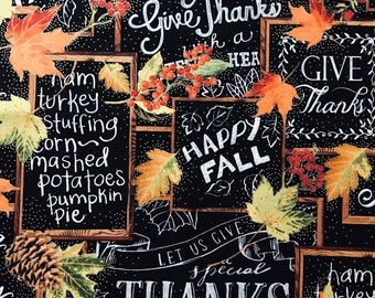 Fall Autumn Thanksgiving fabric by the yard chalkboard allover design premium cotton fabric Harvest by Timeless Treasures CM4291