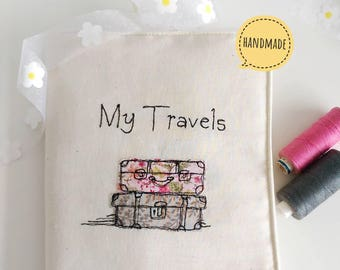 My Travels journal notebook freehand machine embroidery ruled paper bullet journal vacation holiday