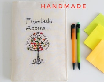 Little Acorns journal notebook freehand machine embroidery ruled paper bullet journal