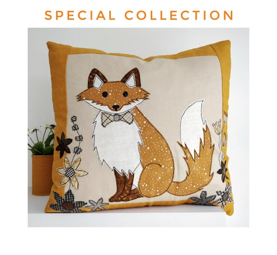 Sewing pattern PDF Mr. Fox Applique cushion cover sew make stitch printable templates 14 inch  project soft furnishings home craft