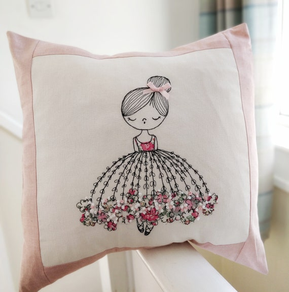 Handmade Cushion Cover Little Ballet Dancer liberty of London dress fabric linen background freehand embroidery french knots girl pink