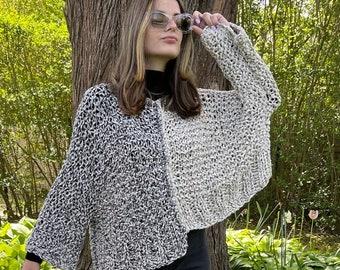 Split Decision Sweater Knitting Pattern, Crop top knitting pattern, chunky knit spring sweater pattern, Instant Digital Download