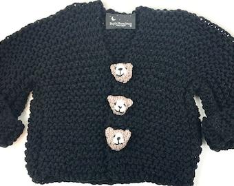 Knitting Pattern Baby Sweater, Knitting Pattern Toddler Sweater, Knitting Pattern Teddy Bear Sweater, Instant Digital Download