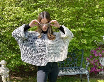 Crop Top Knitting Pattern, Split Decision Sweater Knitting Directions, Chunky Large Knit Sweater Pattern, Instant Digital Download