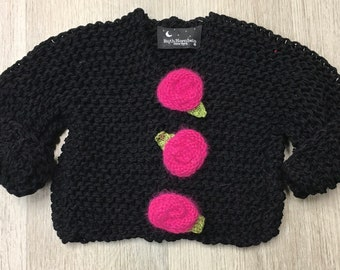 Knitting Pattern Baby Rose Sweater, Knitting Pattern Toddler Rose Sweater, Knitting Pattern Rose Sweater, Instant Digital Download