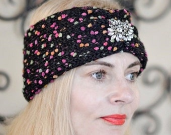 Hand Knit Headband, Hand Knit Turban, Colorful Hand Knit Headwarmer, Hand Knit Brooch Headband, Valentine's Day Gift