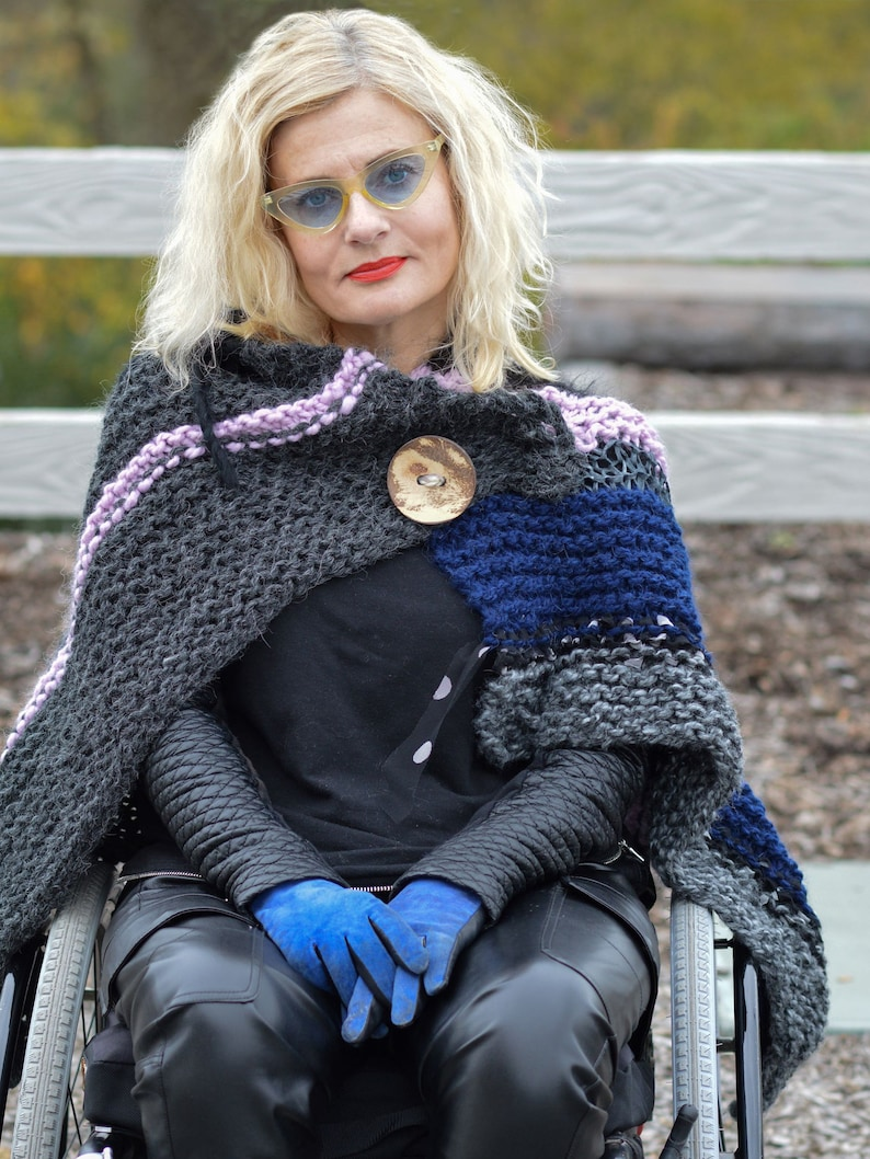 Hand Knit Wrap with Big Button Hand Knitted Shawl Wrap image 0