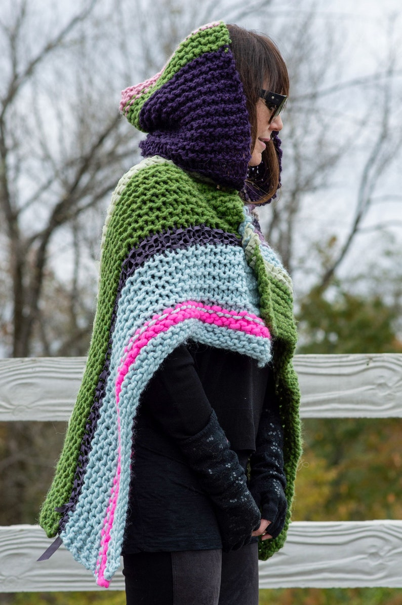 Hand Knit Wrap Shawl with Hood The Magdalena Wrap Rose Avocado