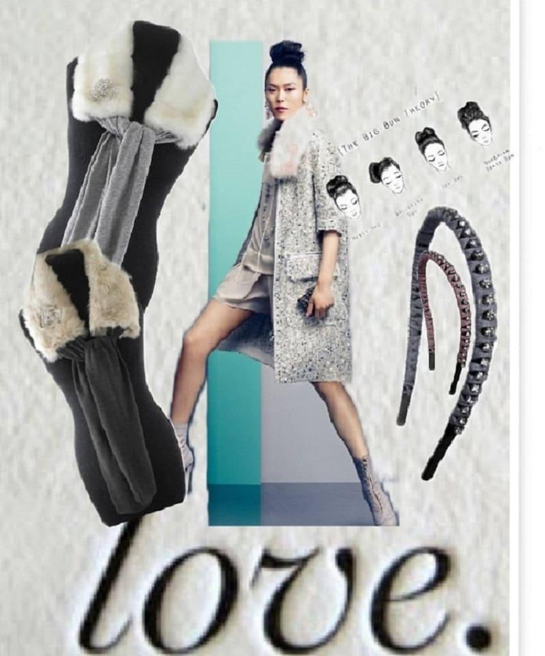 White Faux Fur Jersey Scarf image 0