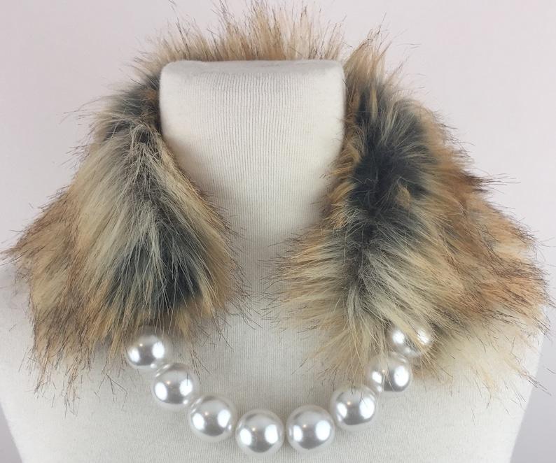 Faux Fur Pearl Collar Scarf image 0