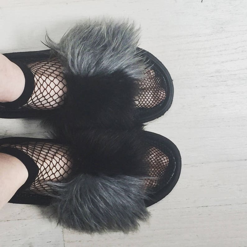 Faux Fur Slide Sandal with Ballerina Ties image 0