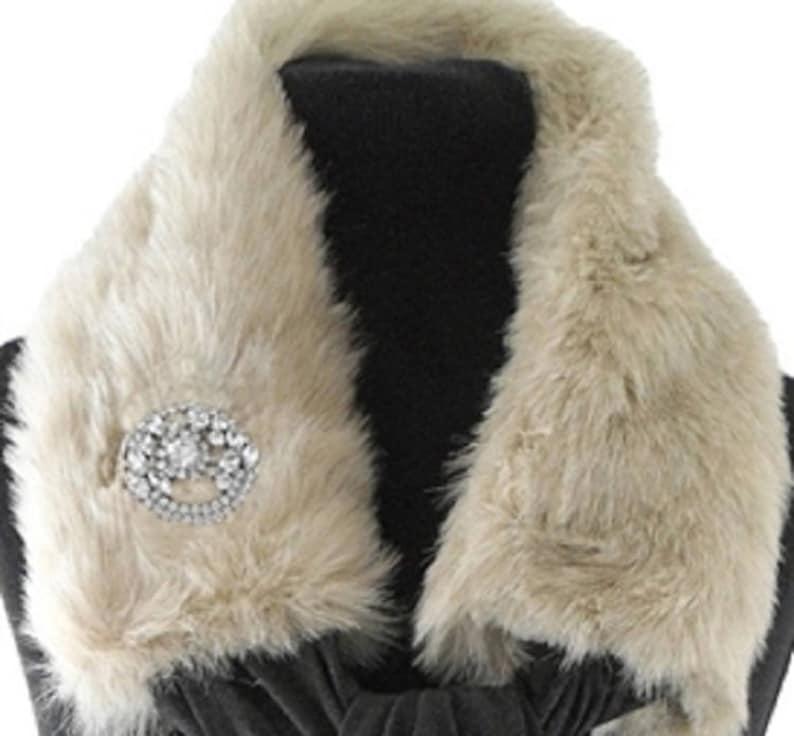 Beige Faux Fur Jersey Scarf image 0
