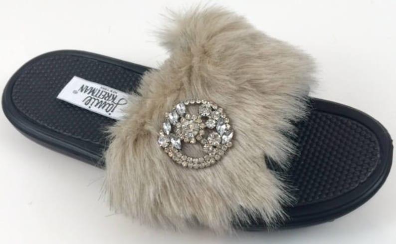 Faux Fur Jeweled Slide Sandal image 0