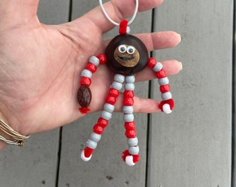 Brutus Buckeye Football Ornament made with REAL Buckeye Nut grown in Ohio