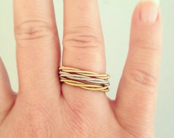 Recycled Guitar String Stacking Ring in YOUR CHOICE of acoustic brass, acoustic bronze or electric Promise, Wedding, Engagement, Anniversary
