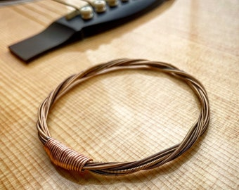 Recycled Acoustic Guitar String Bracelet bronze colored without ball ends Mens or Womens Portion of Proceeds go to Youth Music Scholarships