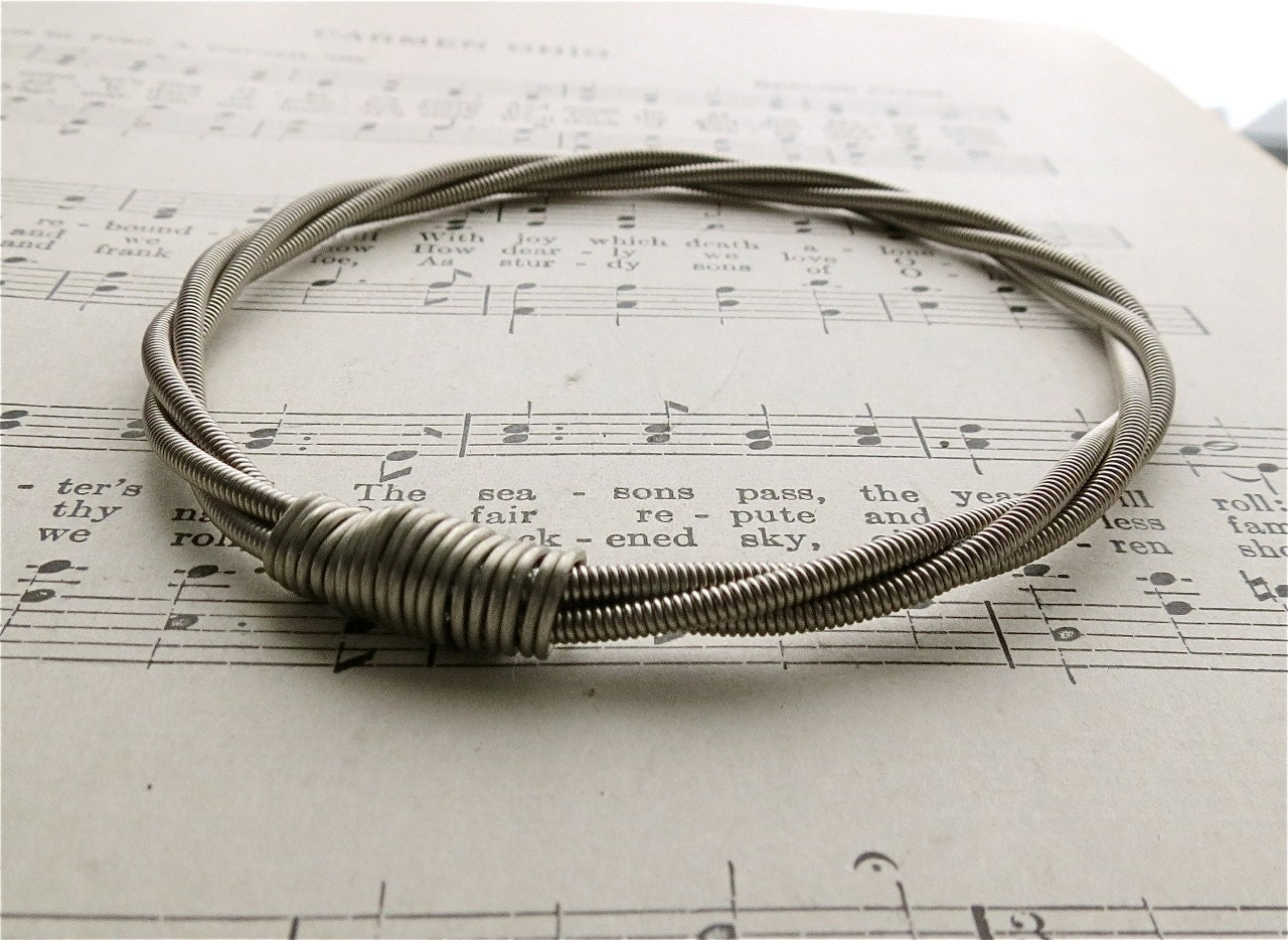 recycled bass guitar string bracelet without brass ball end etsy. Black Bedroom Furniture Sets. Home Design Ideas
