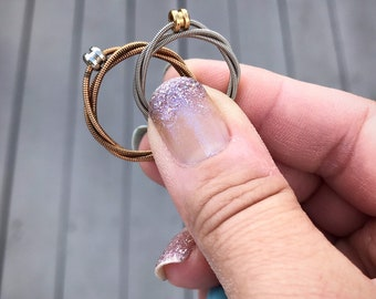 Recycled Guitar String Ring in YOUR CHOICE of acoustic bronze or electric Promise, Engagement, Wedding Band, Anniversary