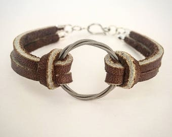 Unisex Bracelet made from recycled electric guitar string and leather Musician gift