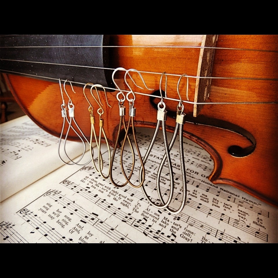 recycled guitar string earrings in your choice of acoustic etsy. Black Bedroom Furniture Sets. Home Design Ideas