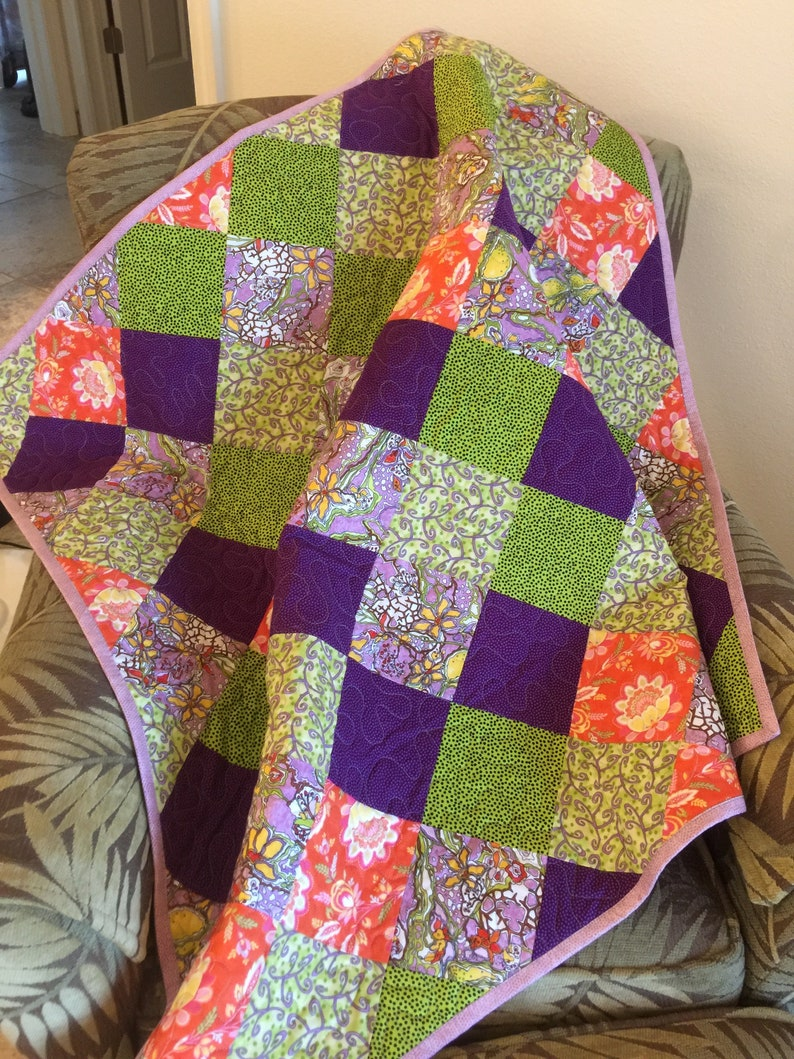 On Point Colorful Cotton Quilt Baby Quiltlap Quilt Etsy