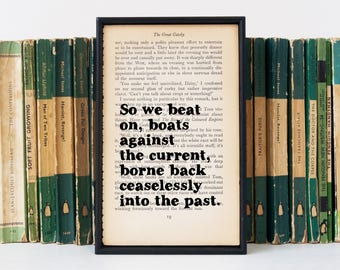 Great Gatsby Quote - The Great Gatsby - Framed Quote - Great Gatsby Print - Gatsby Home Decor - So We Beat On - Book Lover - Book Art