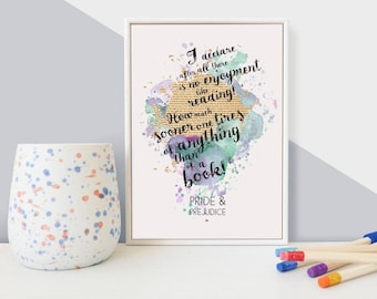 Framed Watercolour Blot Mini Print - Pride & Prejudice 'No Enjoyment Like Reading' - Literary Quote - Book Lover Gift - Literary Gifts