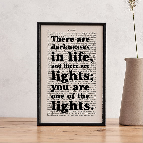 Valentine/'s Gift Framed Quotes You Are One Of The Lights Wedding Gift Best Friend Gift Dracula Quote Engagement Romantic Gifts