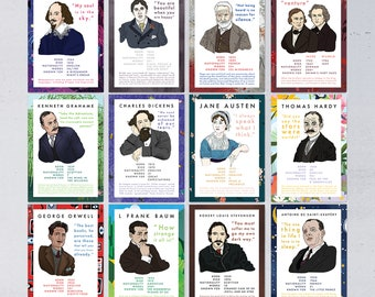 Classic Author Stat Postcard Set - 12 Postcards - 2021 Edition - Literary Postcards