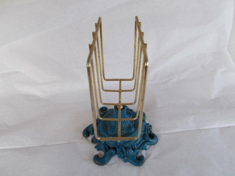 Vintage Gold Tone And Blue  Metal Napkin Holder