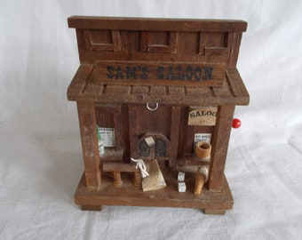 Vintage Wood 1979 Enesco Saloon Saving Bank