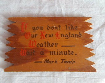 Vintage Small Wood Mark Twain Plaque