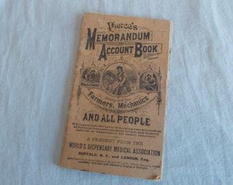 antique 1882 pierce memorandum and account booklet