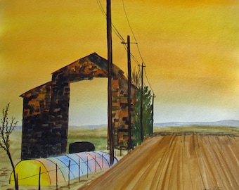 Original watercolor painting sunrise behind barn