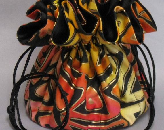 Jewelry Travel Tote---Drawstring  Organizer Pouch---Gold Trinidad Geometric Design-----Eight Pockets---Large Size