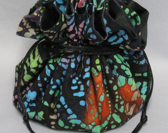 Jewelry Travel Tote---Drawstring Organizer Travel Pouch---Colorful Design---Eight Pockets---Large Size