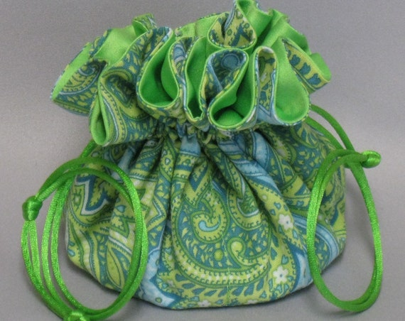Jewelry Tote---Lime Green Paisley Design---Drawstring Organizer Pouch--Regular Size