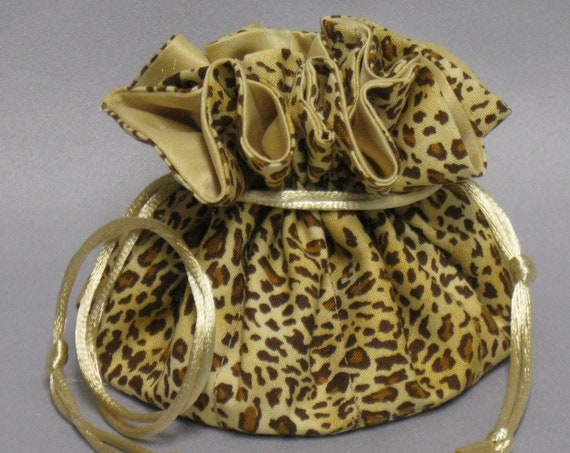 Cheetah Print Organizer Pouch--Drawstring Jewelry Tote--Medium Size