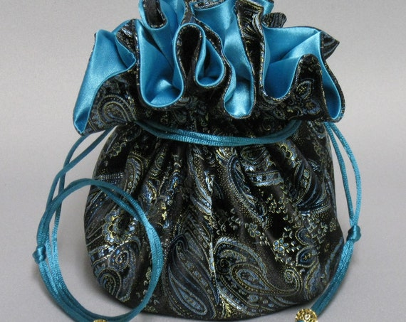 Jewelry Travel Tote---Satin Brocade Drawstring Organizer Pouch---Eight Pockets---Turquoise, Gold & Brown Paisley Design---Large Size
