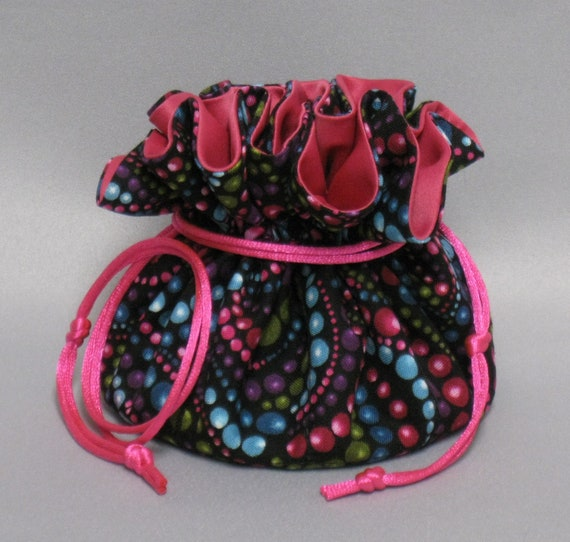 Jewelry Travel Tote---Drawstring Organizer Pouch--- Colorful Beads Design---Regular Size