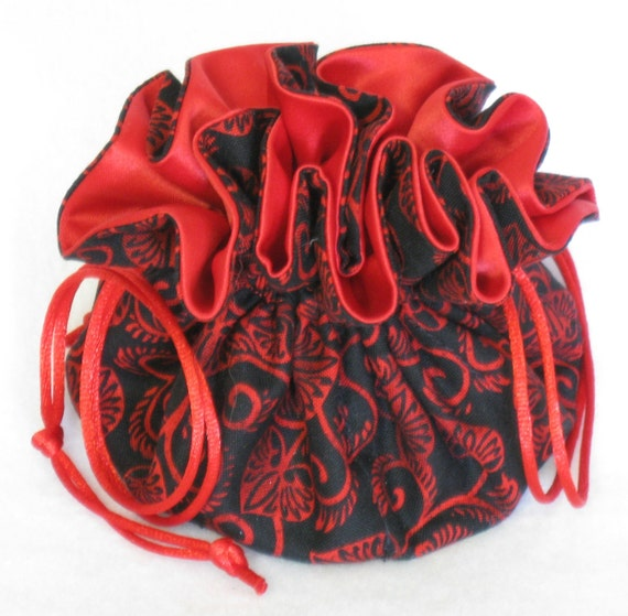 Jewelry Tote---Drawstring Travel Organizer Pouch---Red Leaf Design---Regular Size