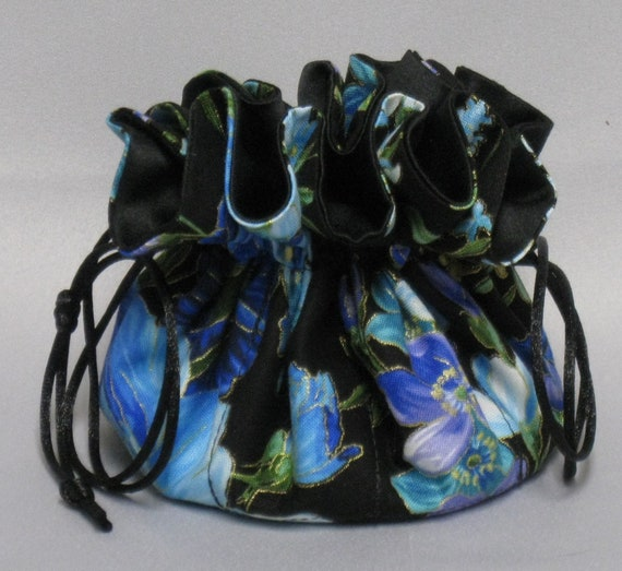 Jewelry Travel Tote--Beautiful Field of Flowers Design ---Drawstring Organizer Travel Pouch---Regular Size