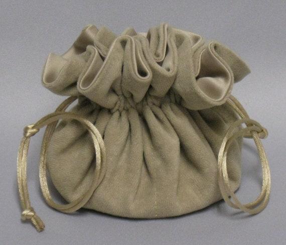 Jewelry Travel Tote---Beige Soft Suedecloth---Drawstring Organizer Pouch------Regular Size