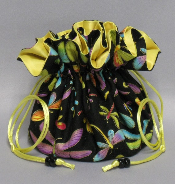 Dragonflies--Jewelry Travel Tote---Drawstring Organizer Travel Pouch---Eight Pockets---Large Size