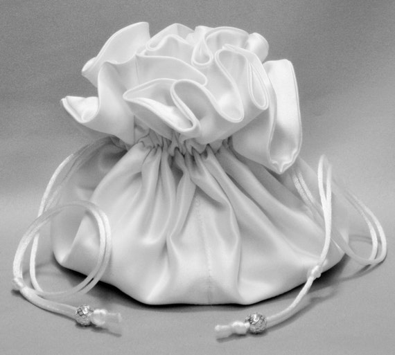 Four Satin Color Choices---Brides Drawstring Organizer Pouch---Eight Pockets---Large Size
