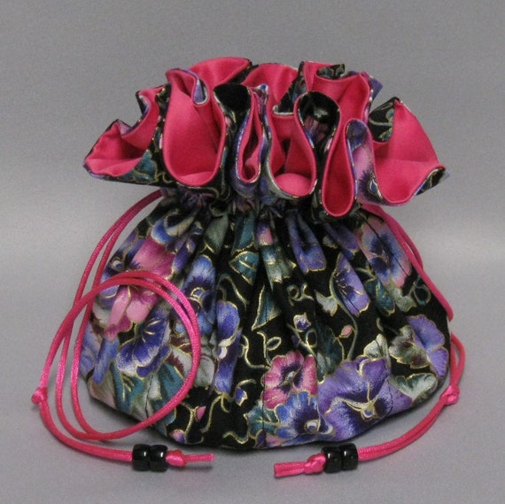 Jewelry Travel Tote---Drawstring Organizer Pouch---Colorful Pansy Floral Design---Eight Pockets---Large Size