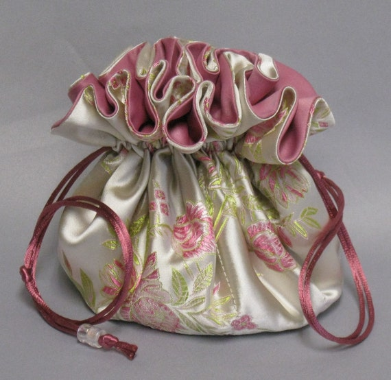 Jewelry Travel Tote---Satin Brocade Drawstring Organizer Pouch---Rose Floral Design---Eight Pockets---Large Size
